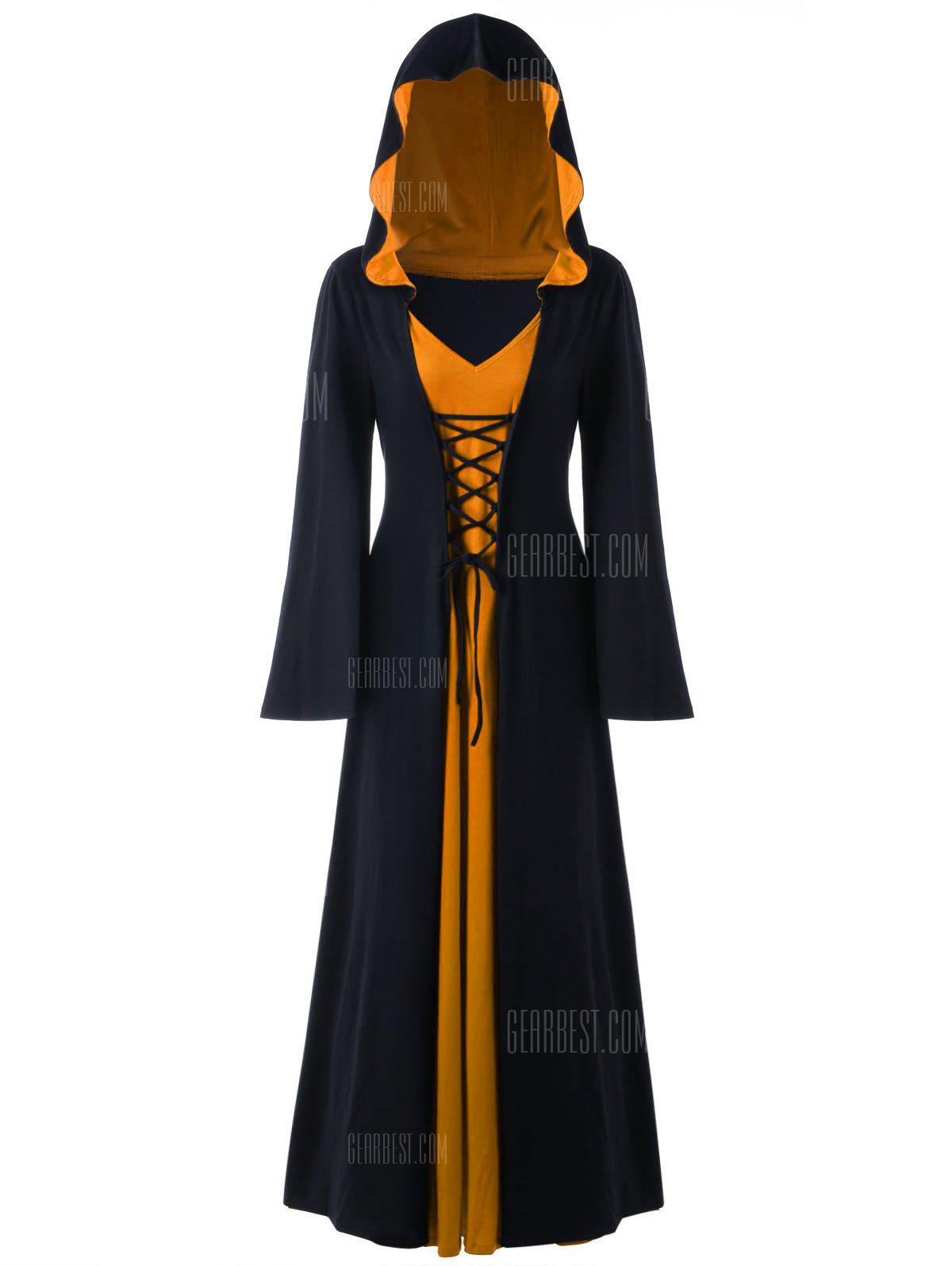 BLACK AND ORANGE 3XL Halloween Hooded Plus Size Lace Up Maxi Dress