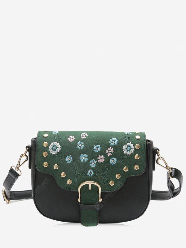 Flower Embroidery Rivets Buckle Strap Crossbody Bag
