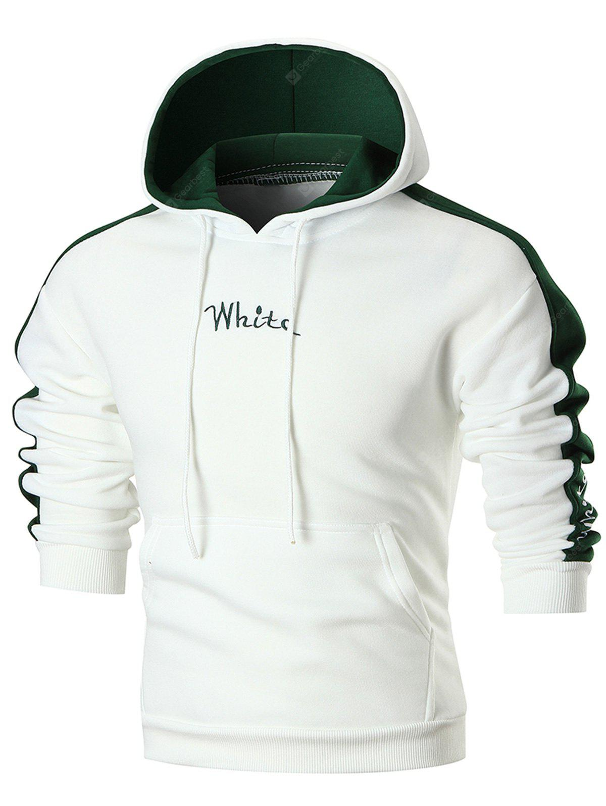 Colorblocked Graphic Embroidery Fleece Hoodie