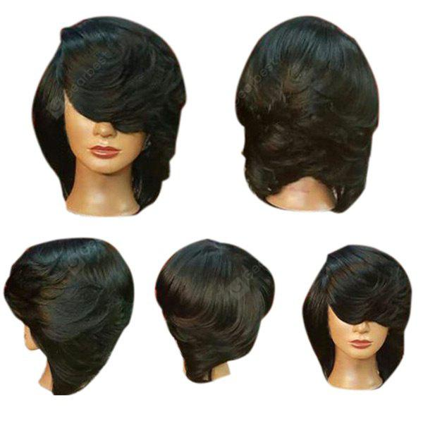 Short Side Bang Straight Flip Feathered Bob Synthetic Wig
