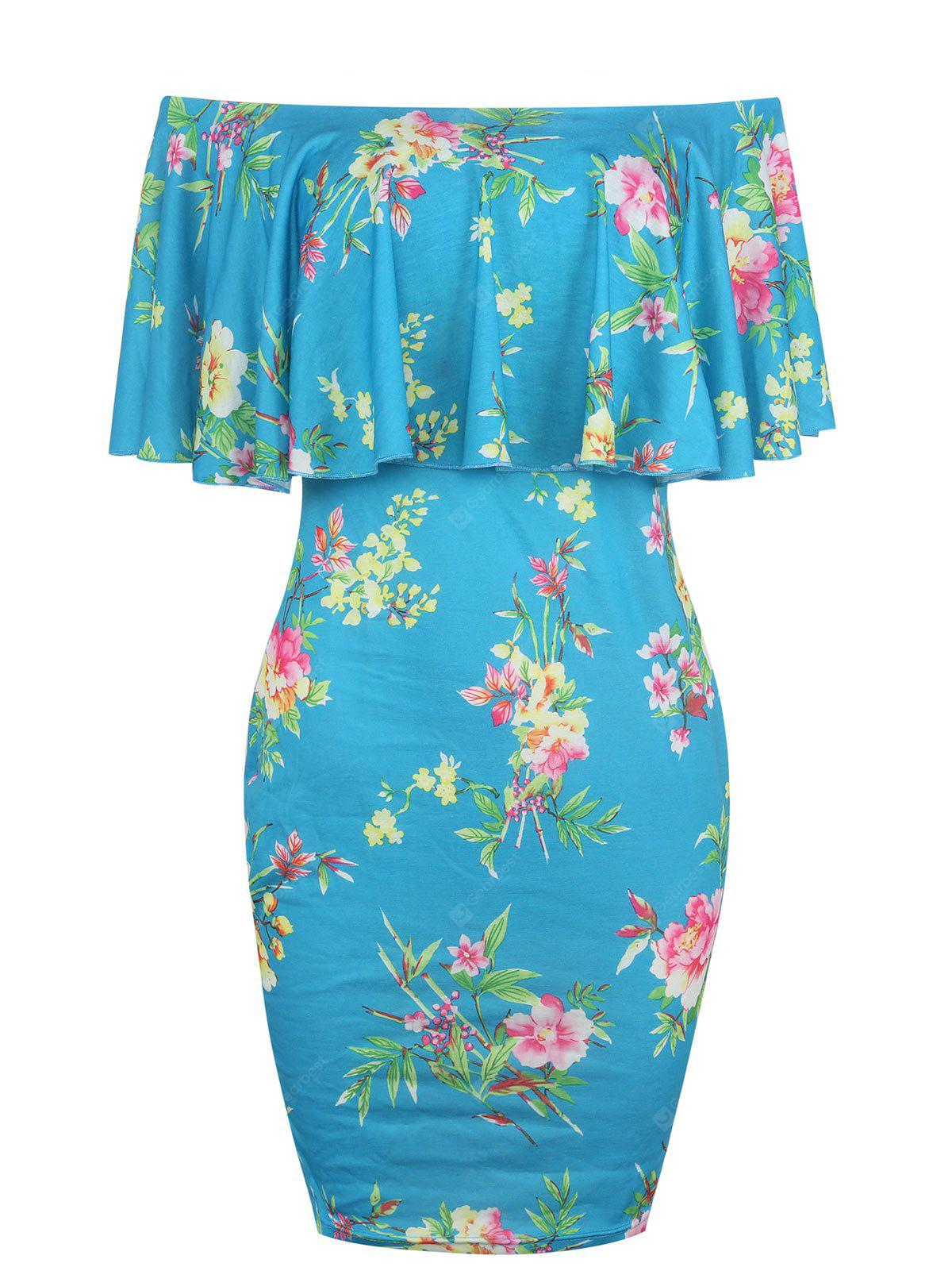 Floral Print Off The Shoulder Bodycon Dress