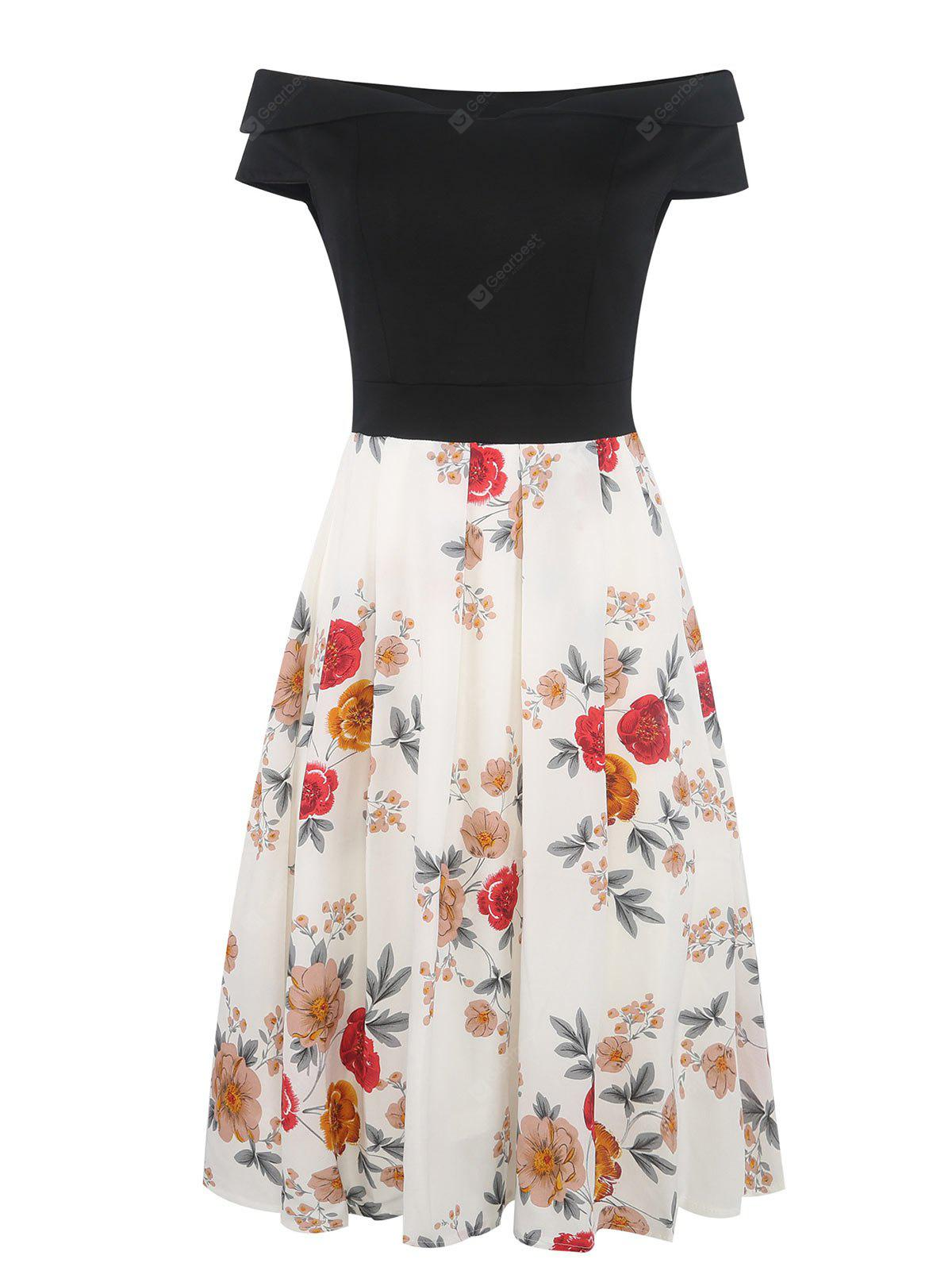 Floral Print Off The Shoulder Fit and Flare Dress