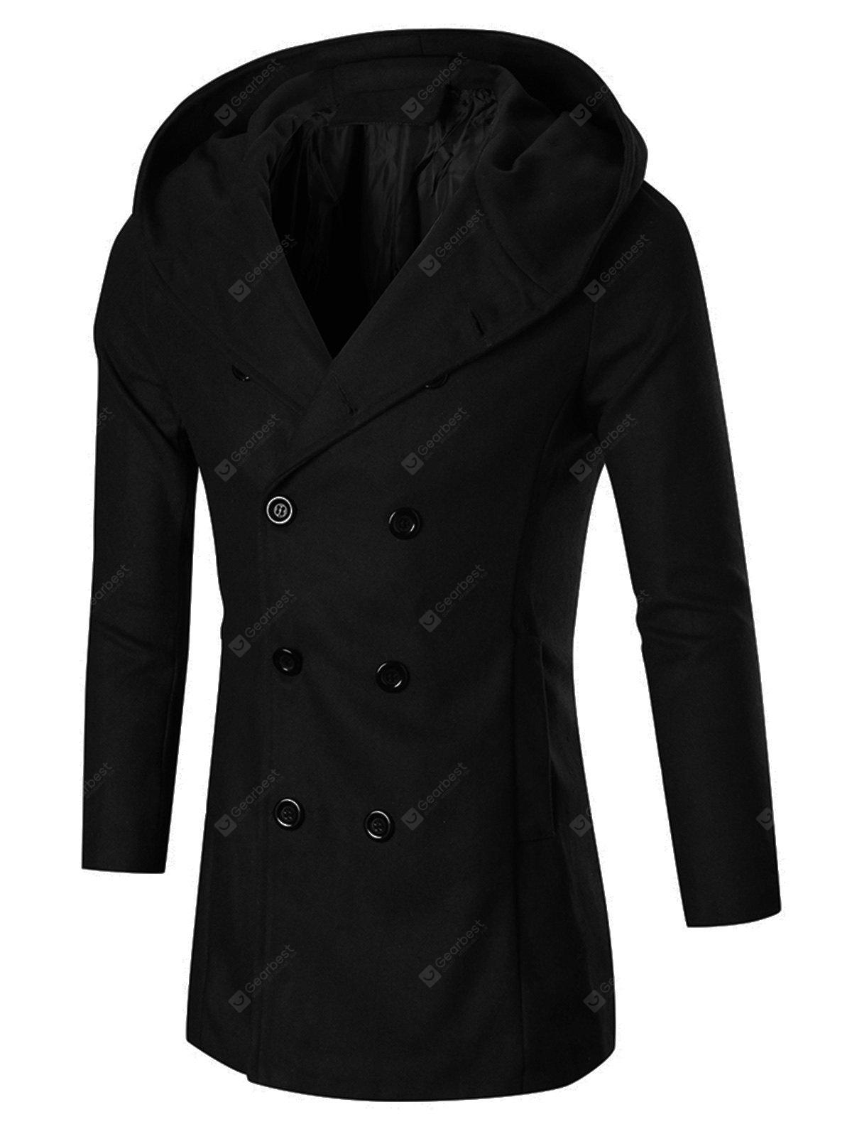 Double Breasted Slim Hooded Peacoat
