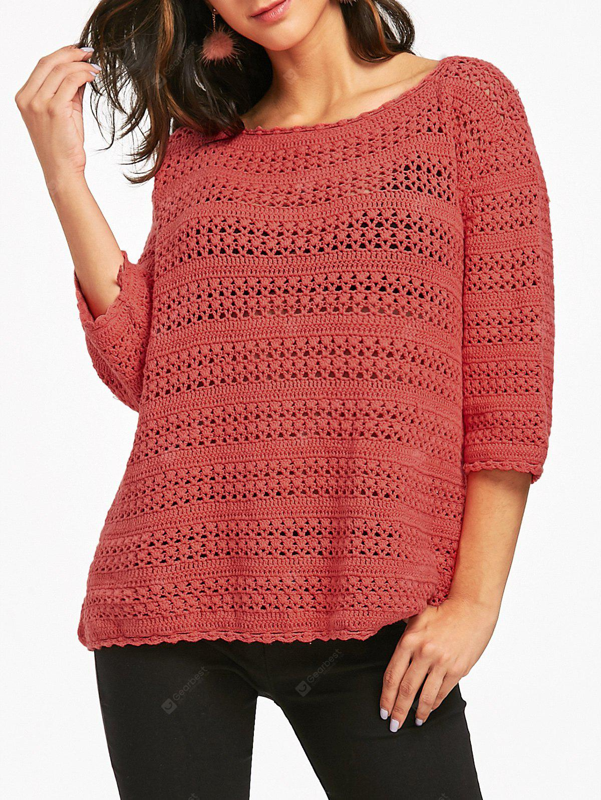 Open Knitted Scoop Neck Sweater