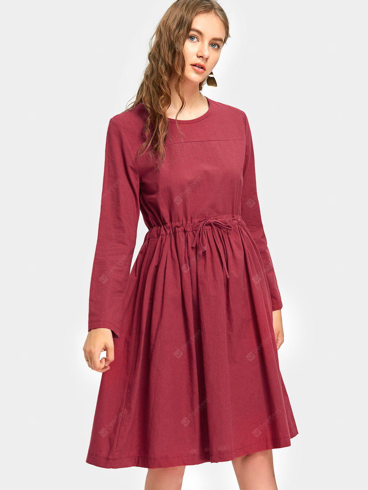 Drawstring Waist Long Sleeve A Line Dress
