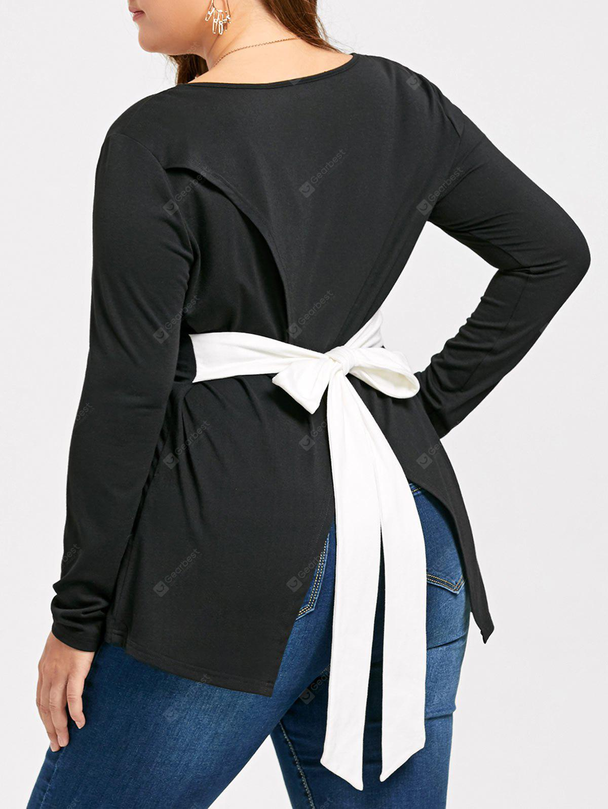 Plus Size Back Bowknot Asymmetric Long Sleeve T-shirt