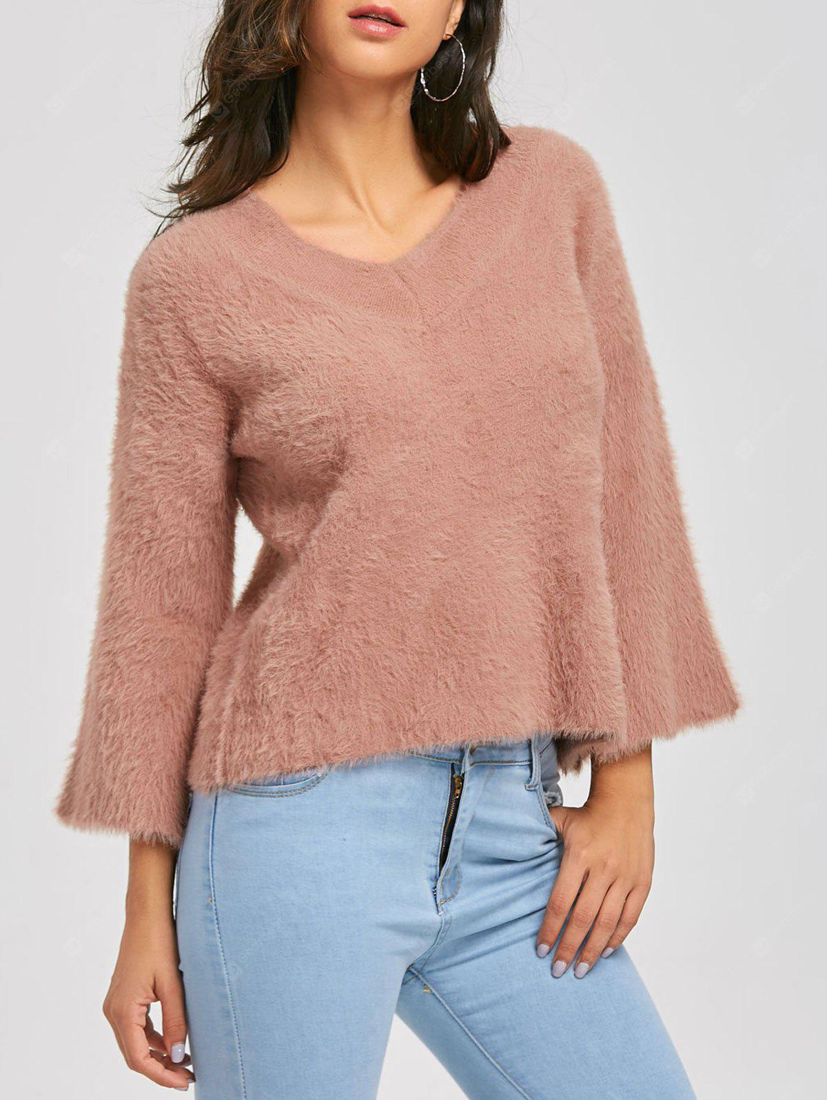 V Neck Batwing Sleeve Fuzzy Sweater