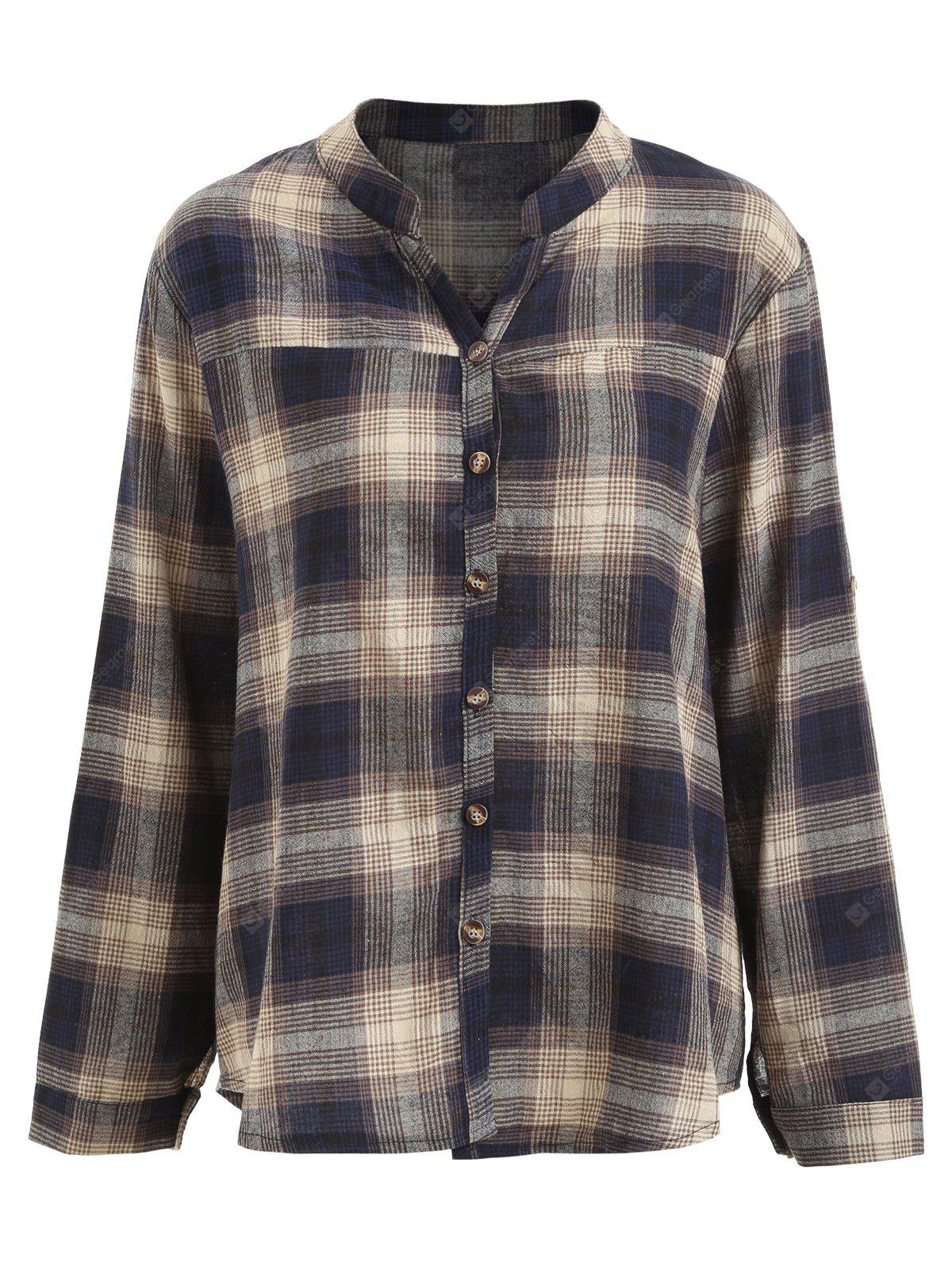 Button Up Plus Size Plaid Shirt