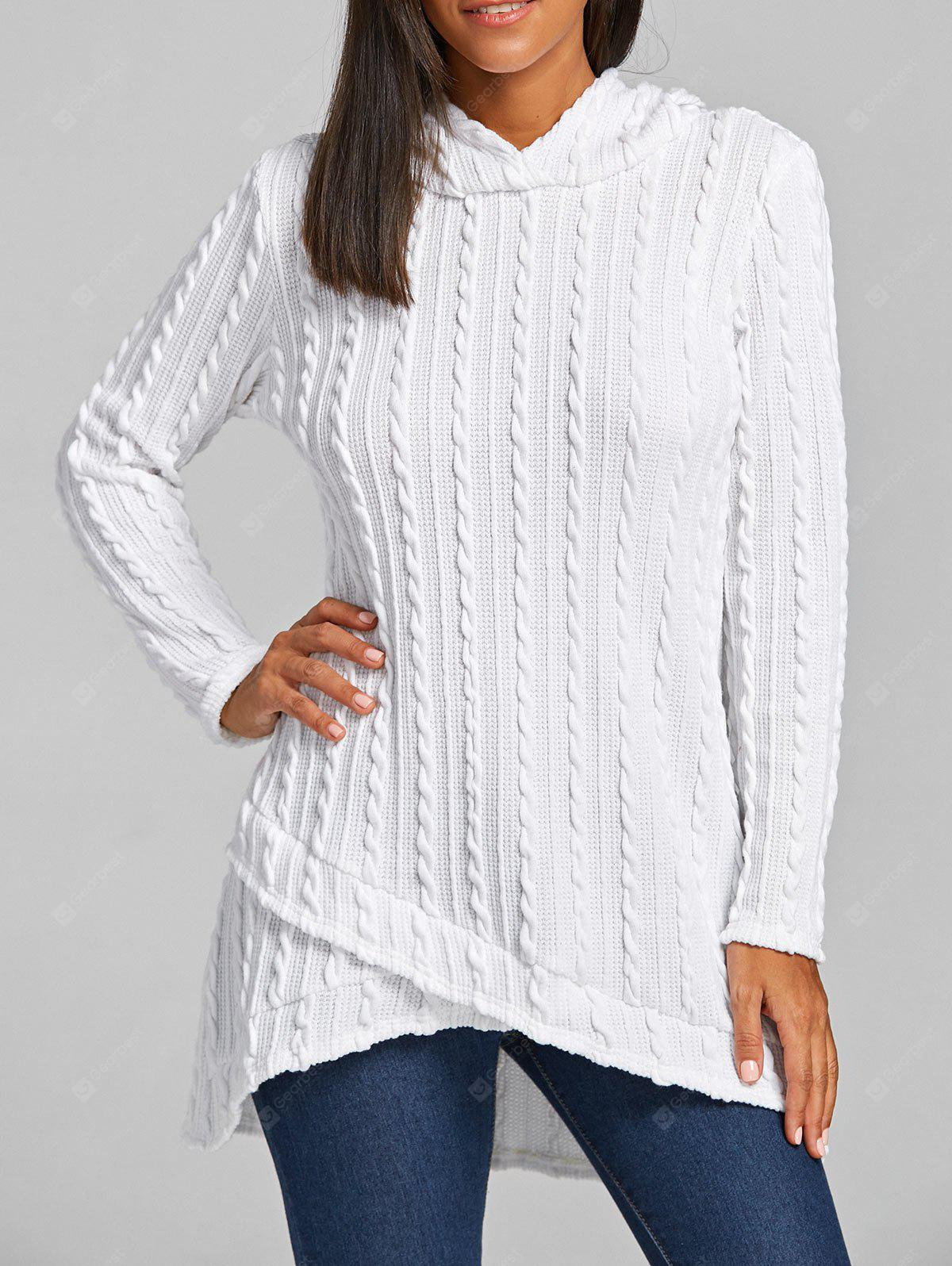 Cable Knitted Tunic Hooded Sweater