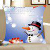 Christmas Snowman Printed Linen Throw Pillow Case - BLUE + WHITE