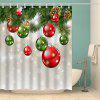Christmas Tree Baubles Print Waterproof Shower Curtain - COLORMIX
