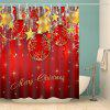 Christmas Baubles Star Print Waterproof Shower Curtain - RED
