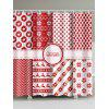 Christmas Pathwork Print Waterproof Shower Curtain - RED
