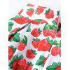 Strawberry Print Midi Flared Skirt - RED WITH WHITE