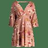 Cut Out Floral Long Sleeve Mini Dress - NUDE PINK