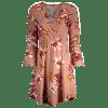 Floral Crossed Front Long Sleeve Mini Dress - PINK