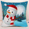 Christmas Snowman Print Decorative Pillowcase - BLUE