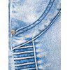 Zipper Fly Accordion Pleat Bleached Biker Jeans - LIGHT BLUE