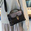 Sequined Rivets Quilted Crossbody Bag - BLACK
