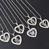 Rhinestone Heart Stainless Steel Bead Chain Necklace - PATTERN C