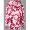 Christmas Plus Size Santa Claus Tunic Hoodie - RED WITH WHITE