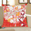 Santa Claus Snowflakes And Flowers Print Throw Pillow Case - RED AND WHITE