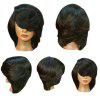 Short Side Bang Straight Flip Feathered Bob Synthetic Wig - BLACK