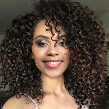Medium Side Bang Fluffy Colormix Afro Curly Synthetic Wig