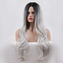 Long Center Parting Layered Wavy Ombre Synthetic Wig