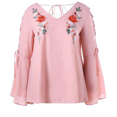 Plus Size Applique Flare Sleeve Lace Up Blouse