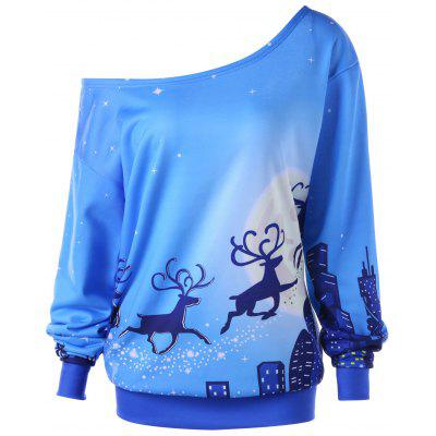 Plus Size Christmas Reindeer Skew Collar Sweatshirt