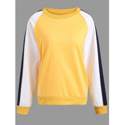 Letter Graphic Plus Size Color Block Sweatshirt
