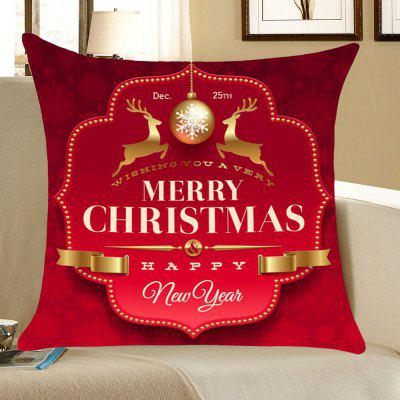 Christmas Elks And Ball Pattern Throw Pillow Case
