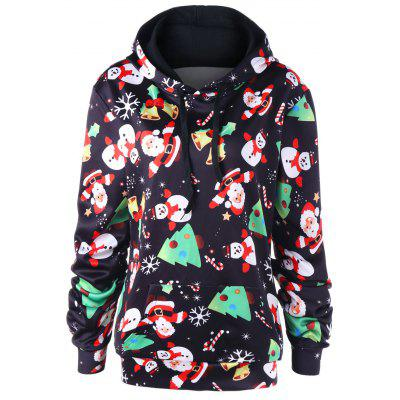 Christmas Plus Size Santa Claus Kangaroo Pocket Hoodie
