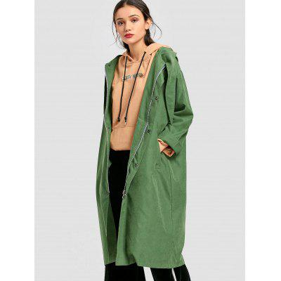 Hooded Snap-button Trench Coat