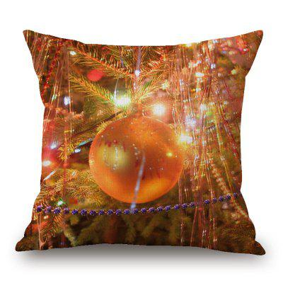 Christmas Bauble Light Print Linen Pillowcase