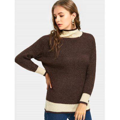 Drop Shoulder Color Trim High Neck Sweater