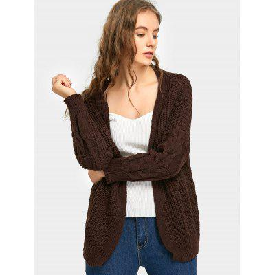 Drop Shoulder Open Front Knitted Cardigan