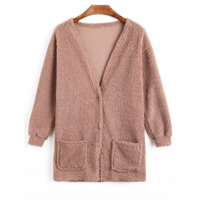 Fuzzy Two Button Coat