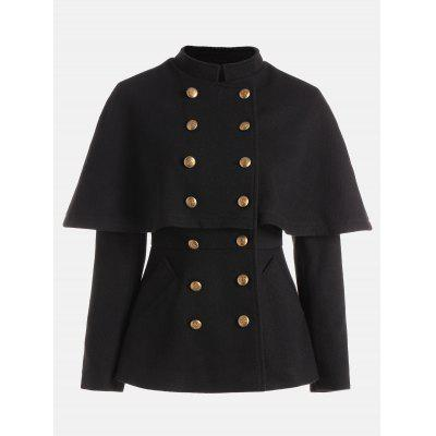 Double Breasted High Waisted Short Capelet Coat