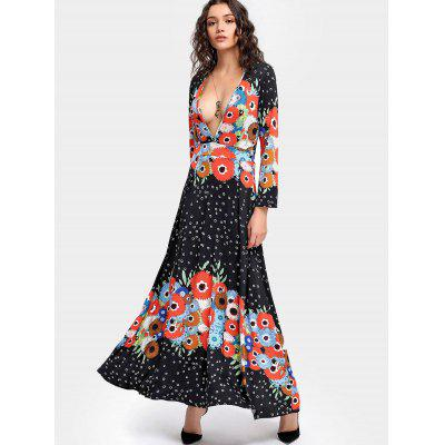 Plunging Neck Printed Long Sleeve Maxi Dress