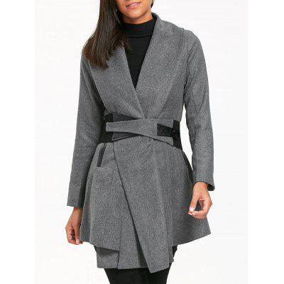 Turn Down Collar Tunic Belted Coat