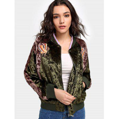 Buy GREEN M Crushed Velvet Patch Bomber Jacket for $42.32 in GearBest store