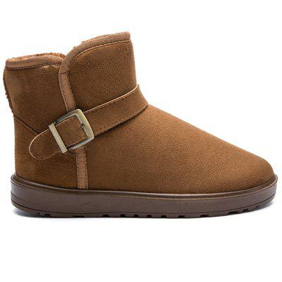Winter Buckled Faux Suede Snow Boots