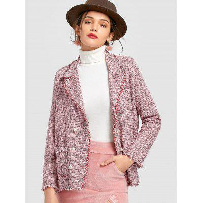 Double Breasted Open Front Tweed Jacket