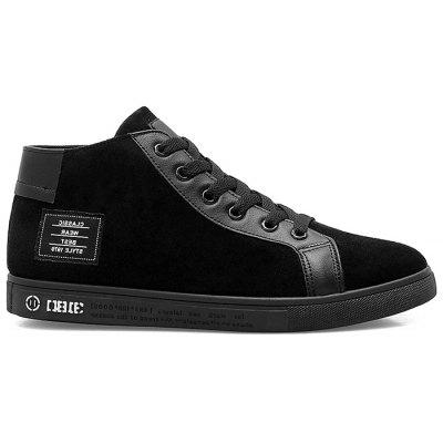 Faux Suede Patched High Top Sneakers
