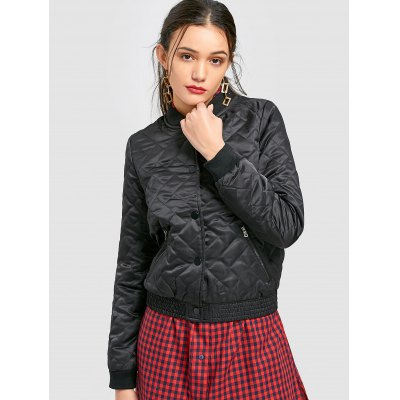 Snap-button Quilted Bomber Jacket