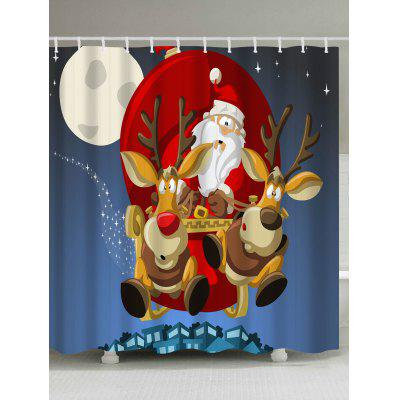 Polyester Waterproof Merry Christmas Cartoon Washroom Curtain