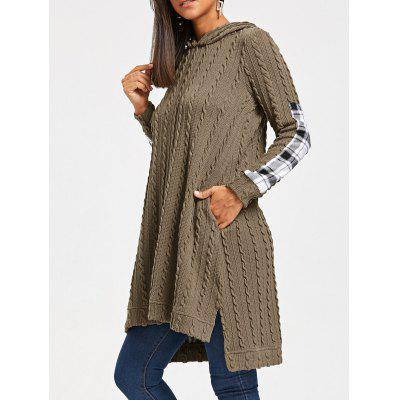 Plaid Insert Cable Knit Hooded Dress