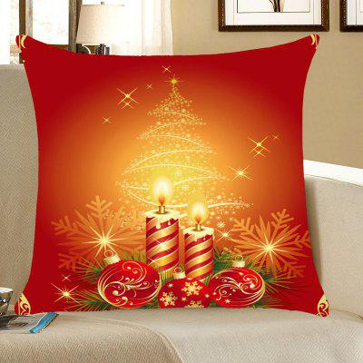Christmas Candles And Balls Print Throw Pillow Case